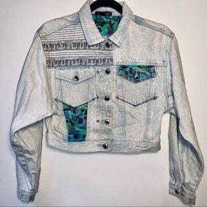 L. A. BLUES 90's Funky Crop Jean Jacket EUC